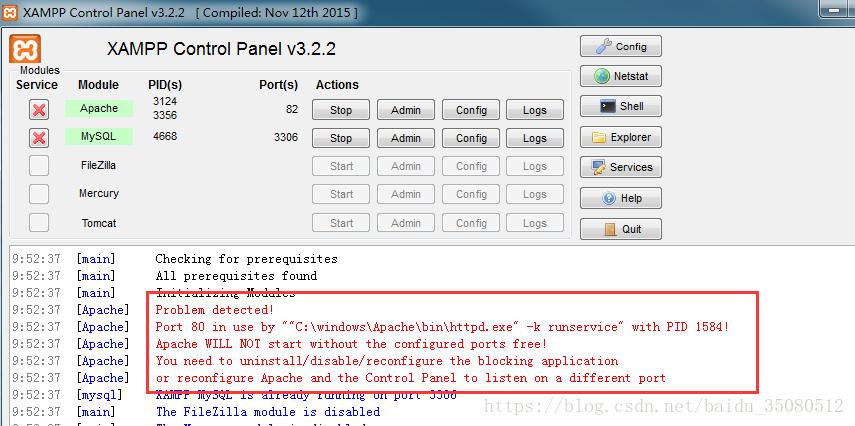 XAMPPP Apache 启动失败怎么办?